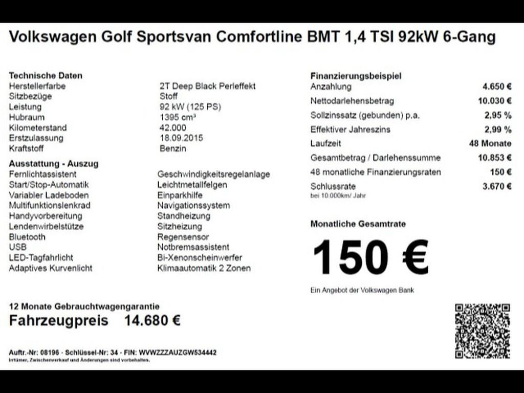 Volkswagen Golf Sportsvan 1.4 TSI Comfortline 92kW