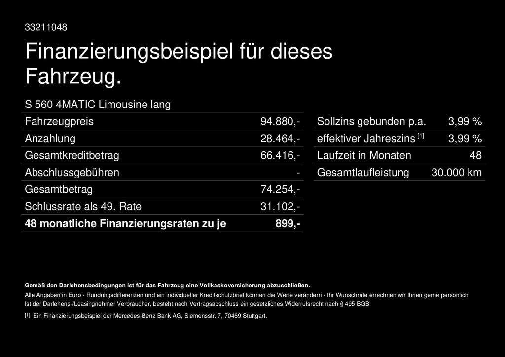 Mercedes-Benz S 560 L EXCLUSIVE REMOTE-PARK FAHRASSIST