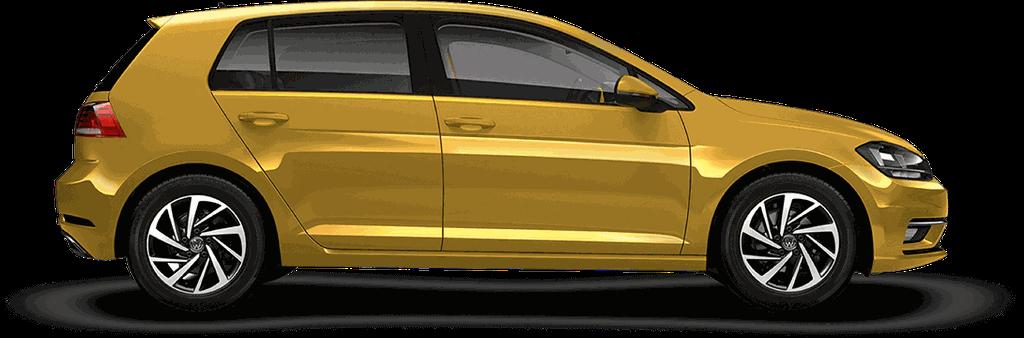 Ein gelber VW Golf