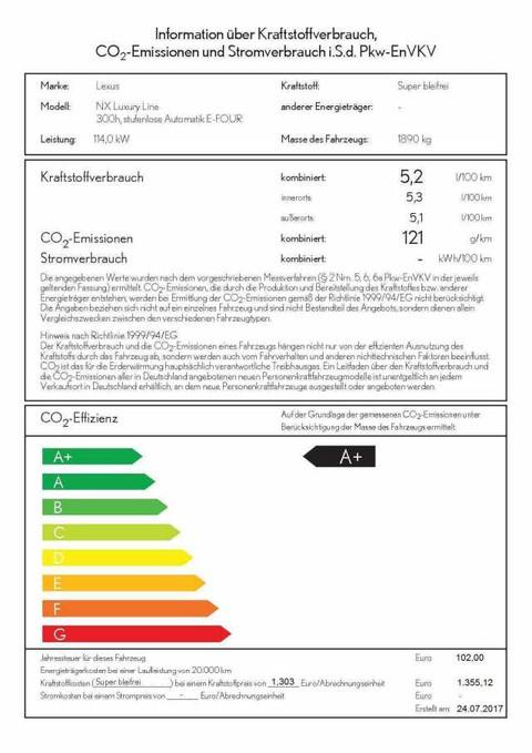 Lexus NX 300 h E-FOUR Luxury Line eGSD PCS LKA BSM